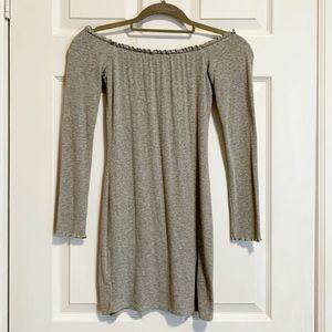 Grey Off-the-Shoulder Dress